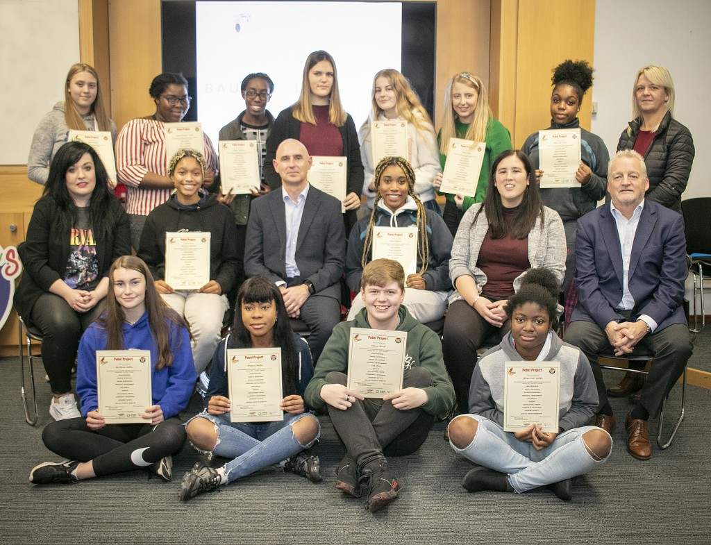 Group pictured at Bausch & Lomb for the presentation of certificates ceremony to those who completed the Children's Group Link, Pobal Project. Picture includes, Mark Kennedy and Mark Fitzgerald, Bausch & Lomb, Trina Tsai, Youth Officer, Donna Bradley, Tutor and Denise Kennelly, CGL. Photo: John Power