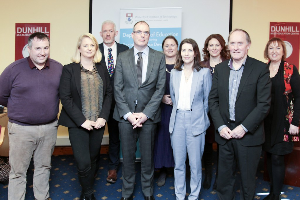 Photo (L-R): John Evoy, Social Innovation Fund; Tammy Darcy, Shona Project; Dr Richard Hayes, Vice-President of Strategy, WIT; Richard Gavin, Department of Rural and Community Development; : Dr Mary Fenton, WIT; Laura Dennehy, Enactus Ireland; Dr Judith Breen, WIT; Dr Senan Cooke, Dunhill Multi-Education Centre; Joan Mangan, WIT.