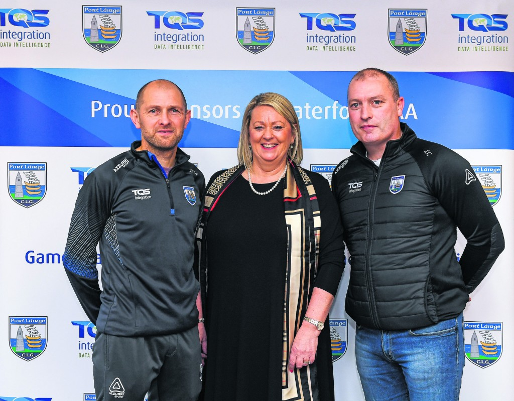 Maire Quilty, Corporate Managing Director of TQS, with Waterford football team manager Benji Whelan, left, and Waterford hurling team manager Liam Cahill.