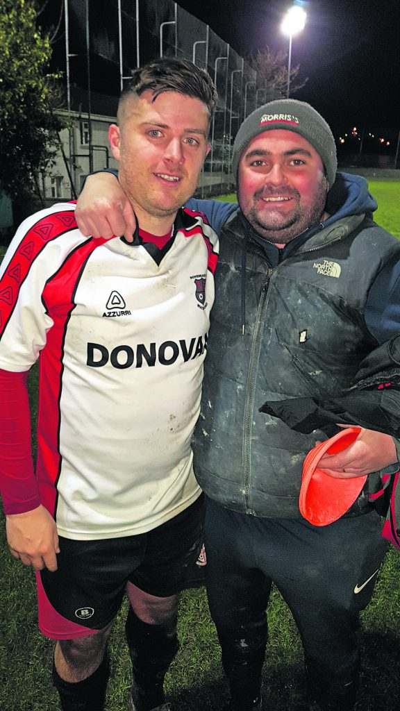 Shane Nolan the Bohemians two goal hero pictured after the game with assistant manager Bobby Keoghan.