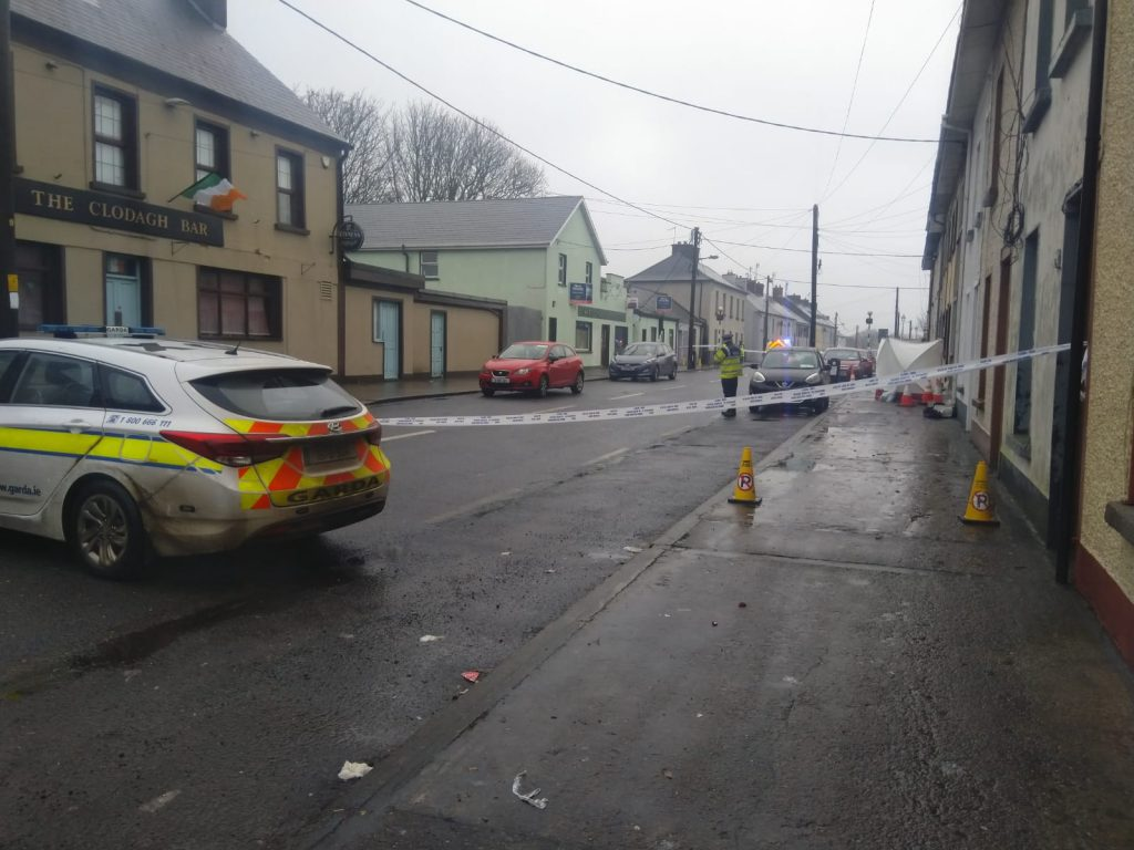 The scene at Brown Street, Portlaw in the hours following a serious assault on local man John Butler, who later died in hospital.