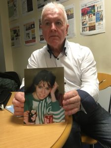 Gerry Keenan pictured holding a picture of his sister Imelda.