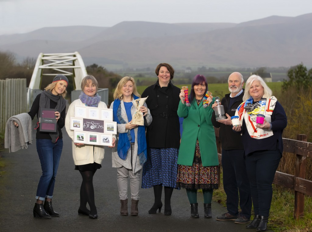 L-R Christine Murphy, Urban Aran Knitwear; Pippa Sweeney, Pippa Sweeney Designs; Amanda Murphy, Amanda Murphy Ceramics;  Brid Kirby, LEO Waterford, Polly Doyle, Polly & Andy; Eamonn Terry, Criostal na Rinne and Mailo Power, Monkey Cups.