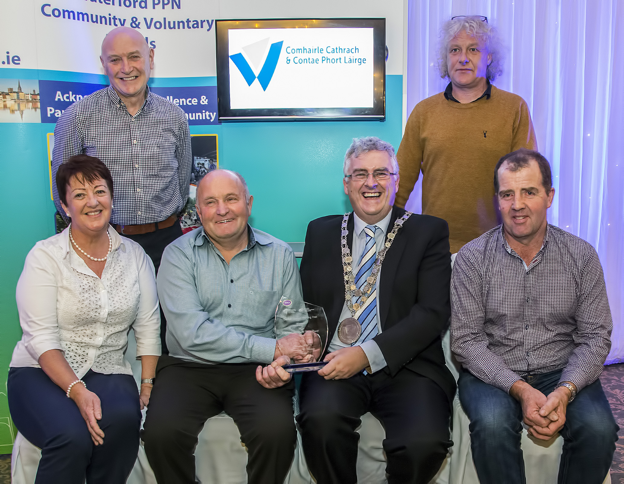Waterford PPN Community & Voluntary Awards 2019, Mayors Award, Winners Dunhill Tourism Walking Trail Ltd. Photo includes: Cllr. John Pratt, Mayor of Waterford City & County Council, Willie Moore, Mike Walsh, Bernie Walsh, Eddie Murphy, Dunhill Tourism Walking Trail, and Garrett Wyse, Waterford PPN. Photos: Sean Byrne.