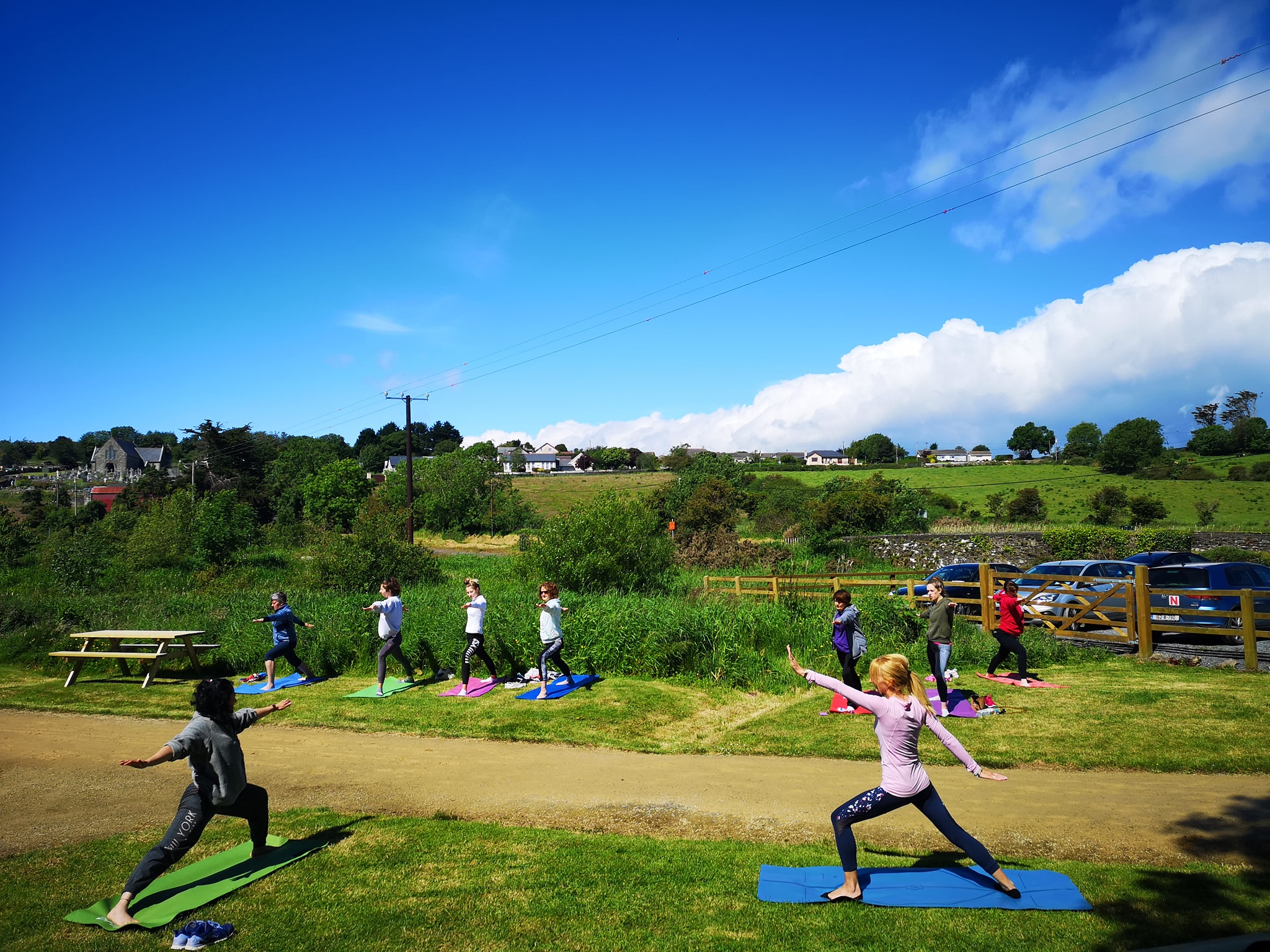 A yoga session on the Anne Valley Walk last summer.