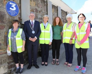 Mayor of Waterford City & County Council Cllr John Pratt pictured at the launch of the 'Take 3 for the Sea' litter initiative in Tramore with Ella Ryan, Environment Officer, and members of Tramore Tidy Towns committee. Photo: John Power