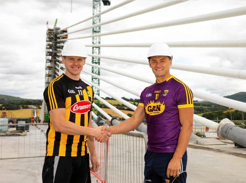 Tj Reid (Kilkenny) and Lee Chin (Wexford) pictured on the bridge last summer. The new bridge connects the counties of Kilkenny and Wexford.
