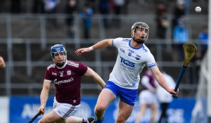 Waterford captain for 2020 Pauric Mahony in action against Galway's Paul Killeen in the National League Hurling Final.