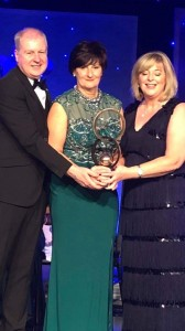 Marie Crotty Wall pictured receiving the 2018 LGFA Hall of Fame Awards is the special guest on Friday next