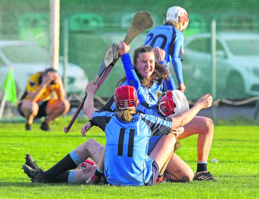 : Gailltir's Aine Lyng, Clodagh Carroll and Margo Heffernan celebrate after their win over Clonduff