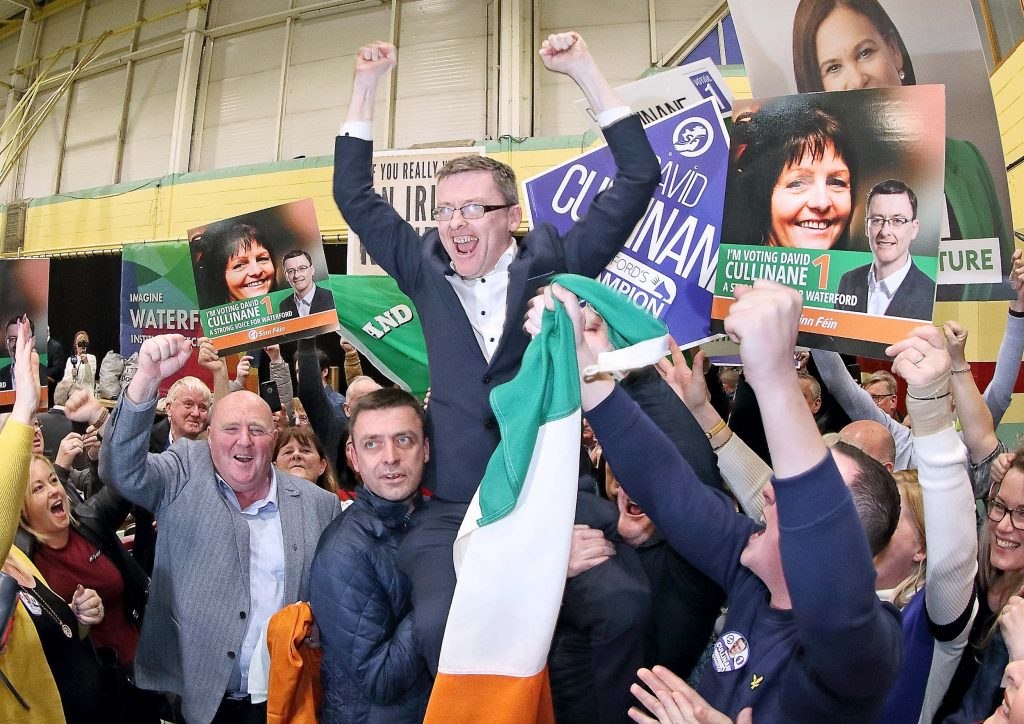 Sinn Féin's David Cullinane celebrating with his family and supporters after the announcement of the first count which deemed him elected. Photos: Noel Browne.