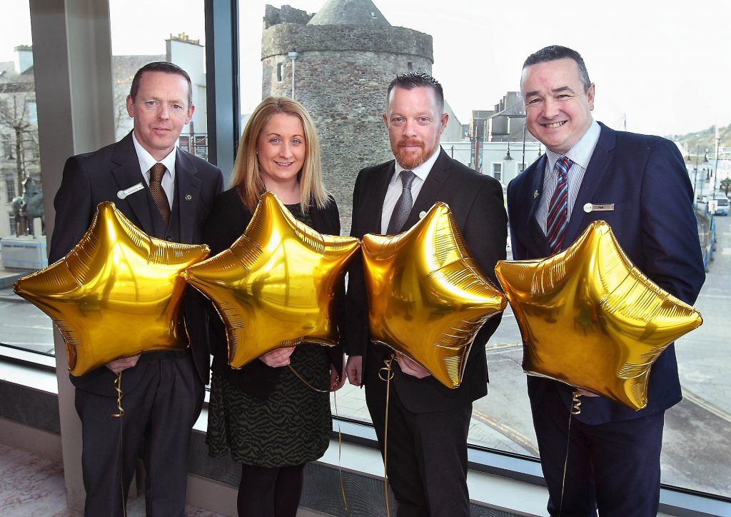 Pictured at the announcement of the upgrade of the Tower Hotel and Leisure Centre Waterford, from a 3-star to a 4-star rating by Fáilte Ireland. (L- R) – Seamus O'Carroll, General Manager; Sinead Corcoran, Sales & Marketing Manager; Michael O'Neill, Operations Manager; Niall Byrne, Accommodation Manager.