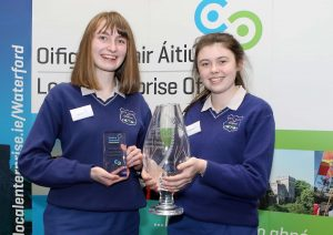 Caoimhe Keane and Lauren Douris from Hidden Access from Ard Scoil na nDeise in Dungarvan, winners of the Senior award at the Student Enterprise County Final 2019.