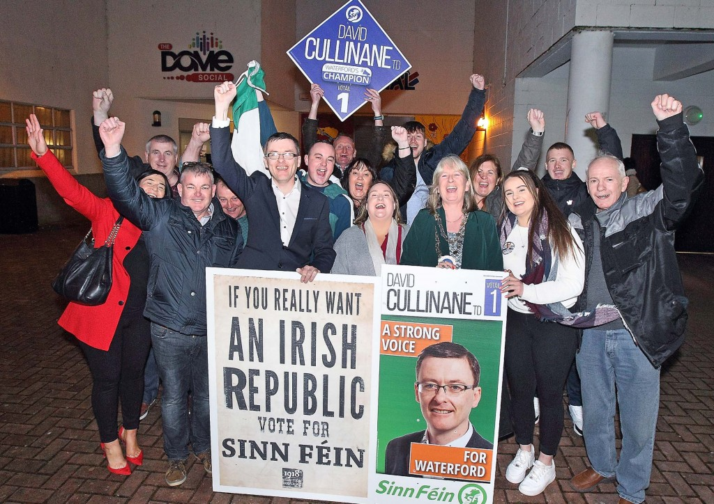 Sinn Féin's David Cullinane pictured outside the count centre at WIT with supporters. Photos: Noel Browne.