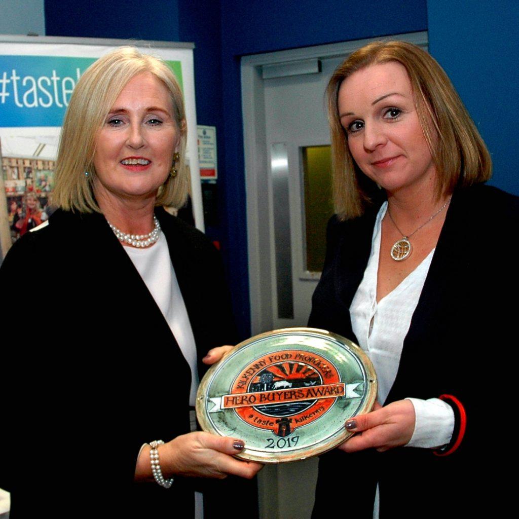 Fiona Deegan, Head of Enterprise Kilkenny LEO presenting the inaugural Taste Kilkenny Hero Buyers National Award to Christine Fowler, Ardkeen Quality Food Store. Photograph: Christopher Dunne