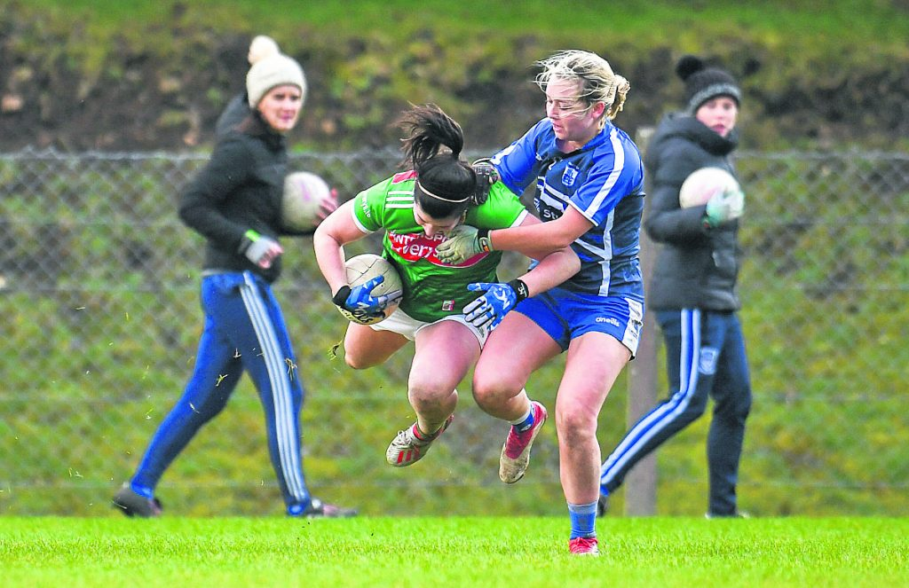 Rachel Kearns of Mayo in action against Megan Dunford of Waterford during the Lidl Ladies National Football League Division 1 Round 3 match at Swinford, Co Mayo