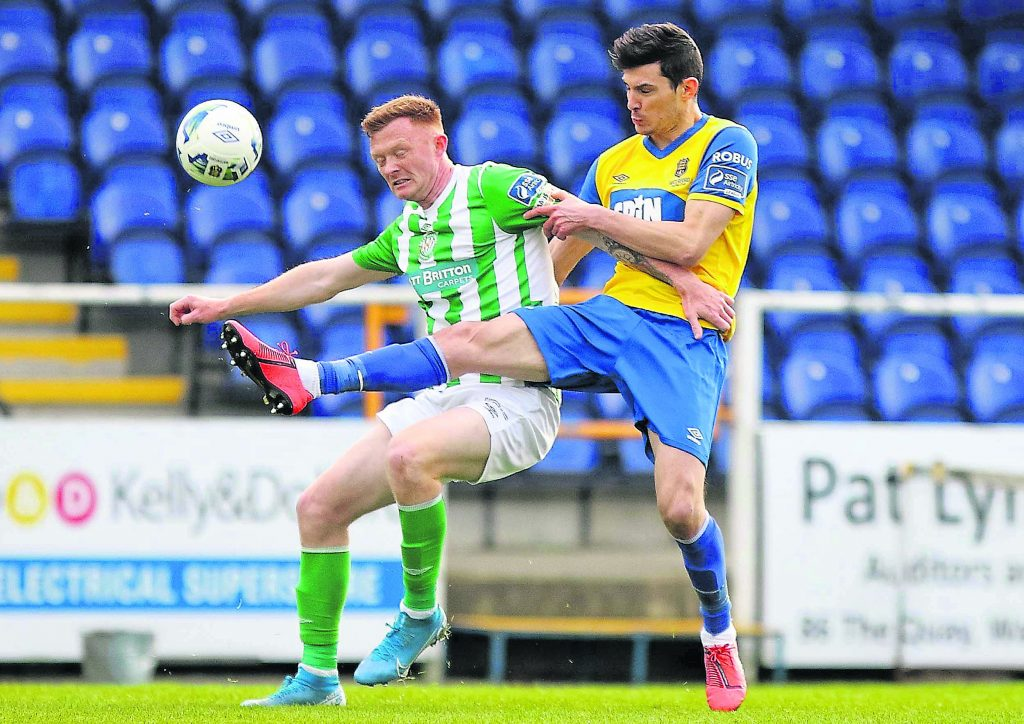 Waterford FC's Graham Cummins getting the better of Bray Wanderers Gary Shaw during the pre-season friendly at the RSC.