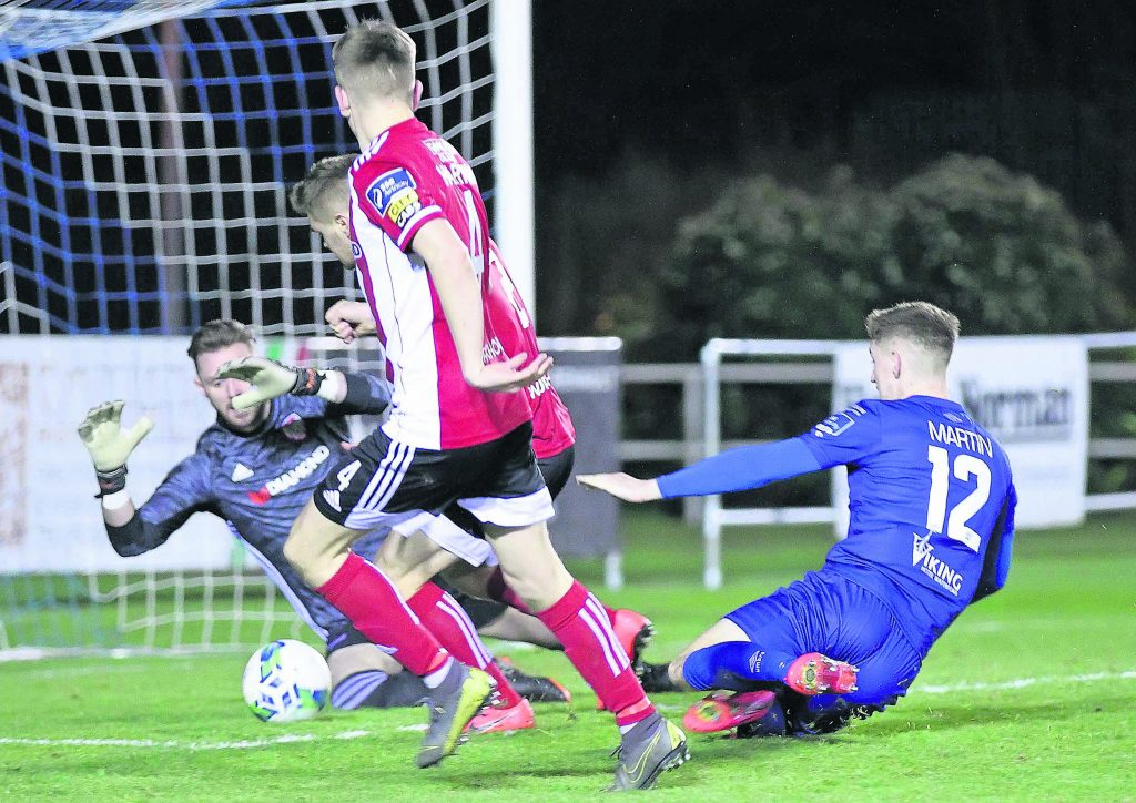 Waterford FC's John Martin went close with this effort late in the game.
