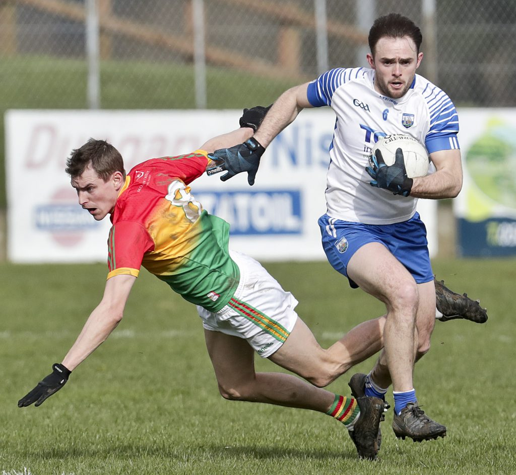 Waterford's Sean O'Donovan gets away from Carlow's Sean Gannon